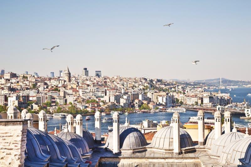 Hoogste mening van Istanboel en het dak van de Suleymaniye-Moskee stock fotografie