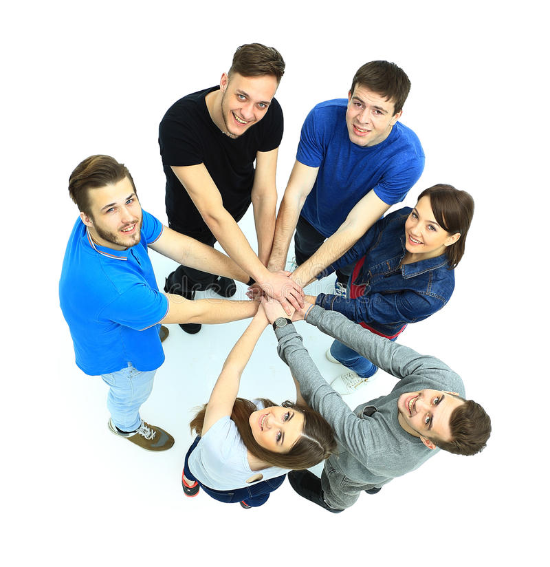 Hoogste mening van jongeren met hun handen stock afbeeldingen