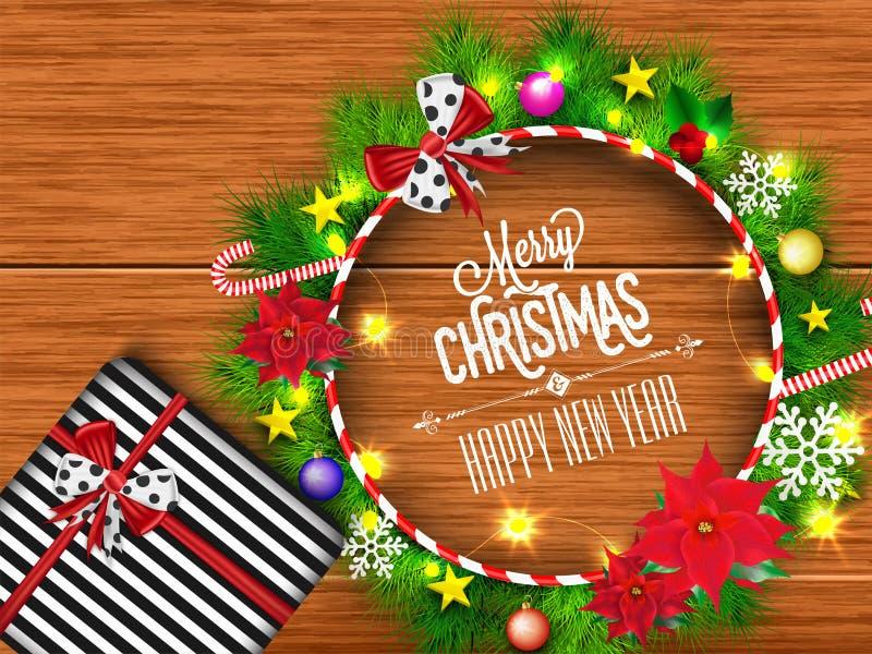 Hoogste mening van Kerstmiskroon verfraaid met festivalelementen stock illustratie