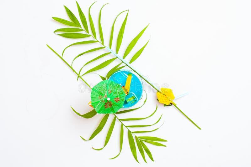 Hoogste mening van kleurrijke blauwe die de zomercocktail met tropica wordt verfraaid royalty-vrije stock fotografie