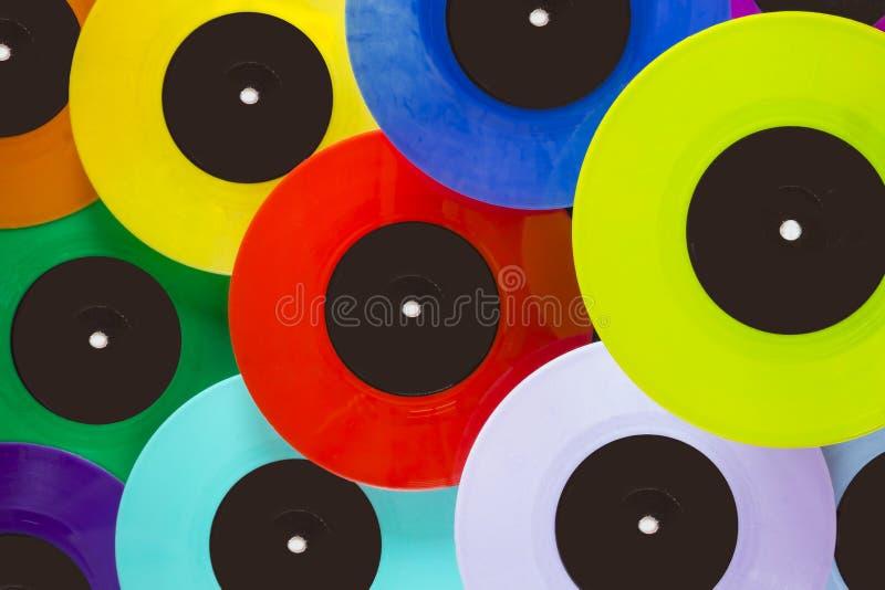 Hoogste mening van kleurrijke vinylverslagen stock afbeelding