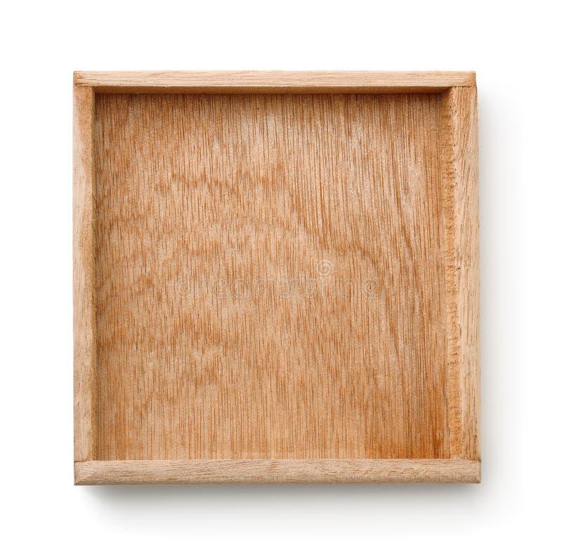 Hoogste mening van leeg houten dienblad royalty-vrije stock afbeelding