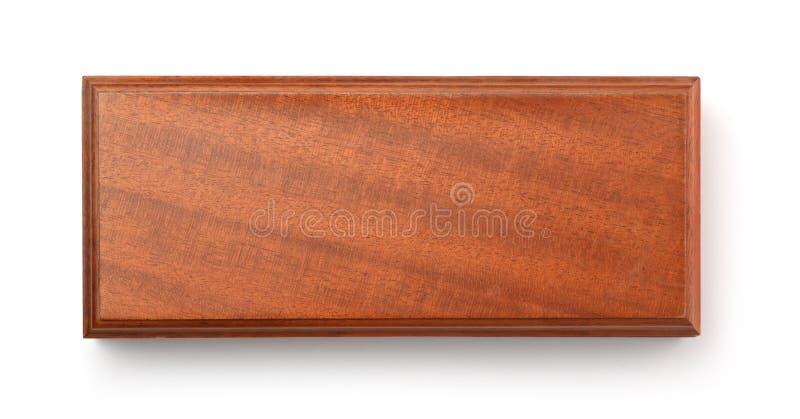Hoogste mening van lege bruine houten doos stock fotografie