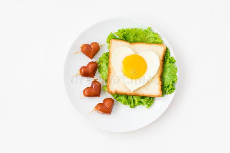 Hoogste mening van leuk ontbijt op witte achtergrond royalty-vrije stock fotografie