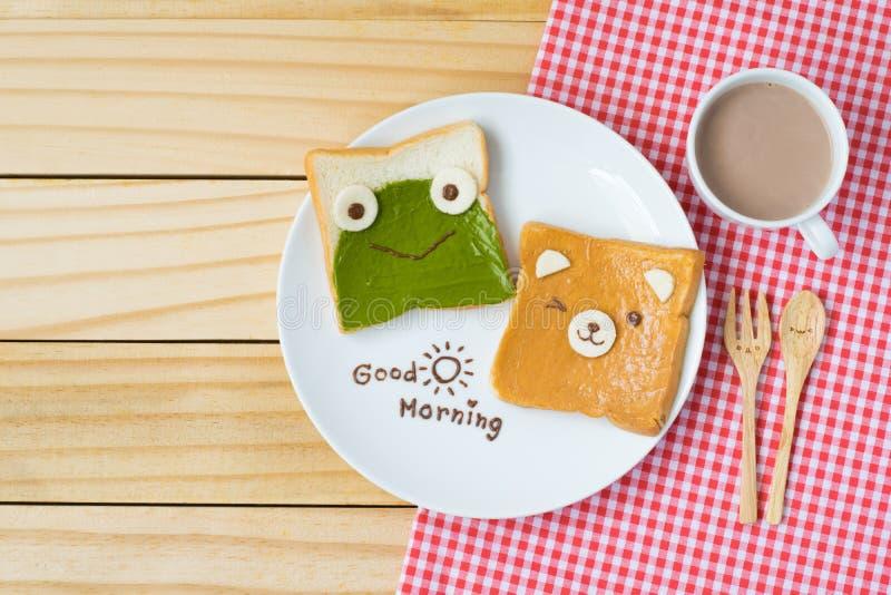 Hoogste mening van leuk ontbijt voor jonge geitjes op houten achtergrond royalty-vrije stock afbeeldingen