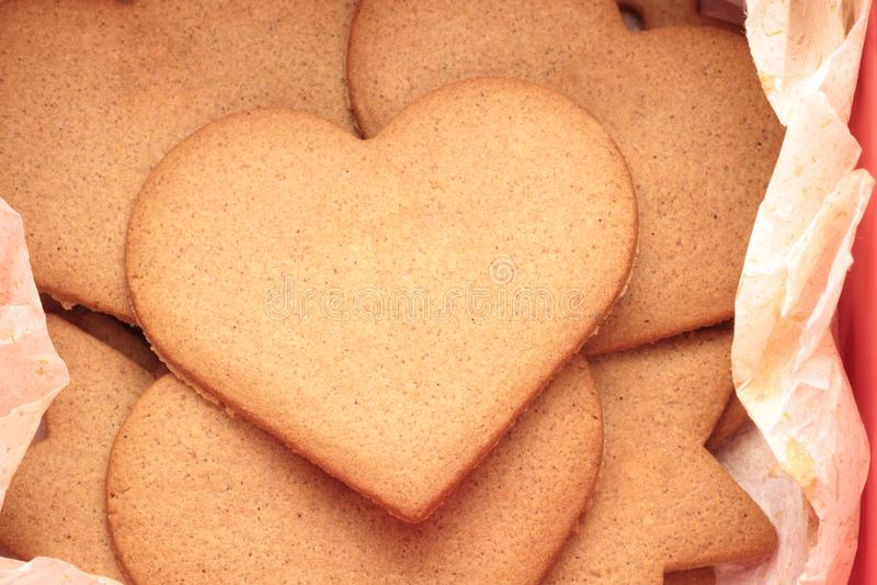 Hoogste mening van liefje gevormd koekje stock afbeeldingen