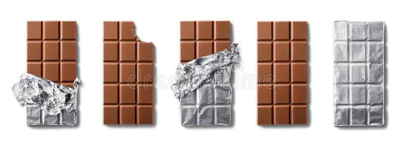 Hoogste mening van melkchocolabars Ge?soleerdj op witte achtergrond stock afbeelding