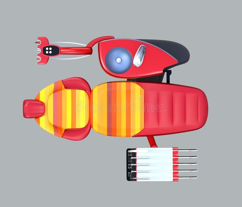 Hoogste mening van metaal rood tandeenheidsmateriaal met kleurrijke stoel, berijpte glasverdeling stock illustratie