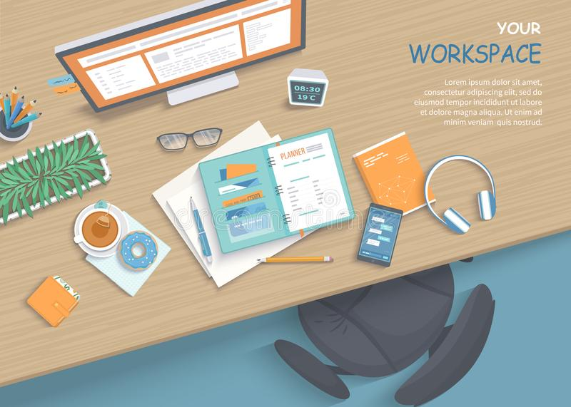 Hoogste mening van moderne en modieuze werkplaats Houten lijst, leunstoel, bureaulevering vector illustratie