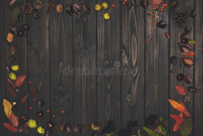 hoogste mening van mooie de herfstsamenstelling met droge bladeren en denneappels stock afbeelding