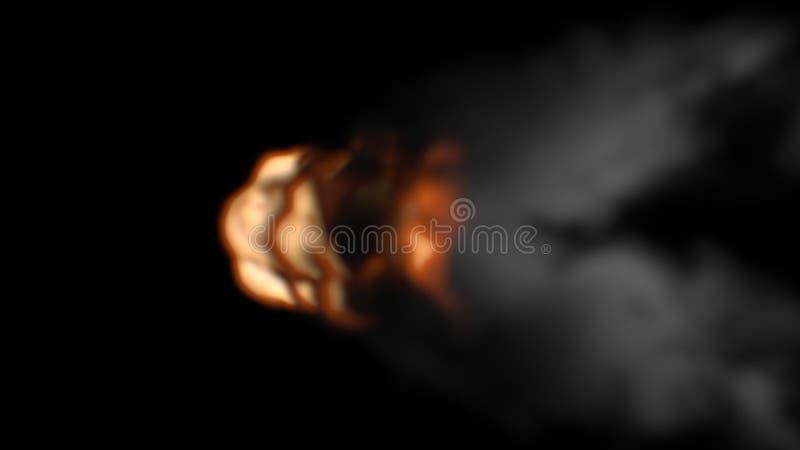 Hoogste Mening van Oranje en Gele Vuurbol met Donkere en Dikke Rook stock illustratie