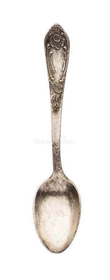 Hoogste mening van oude zilveren mooie die theelepel op witte achtergrond wordt geïsoleerd stock foto's