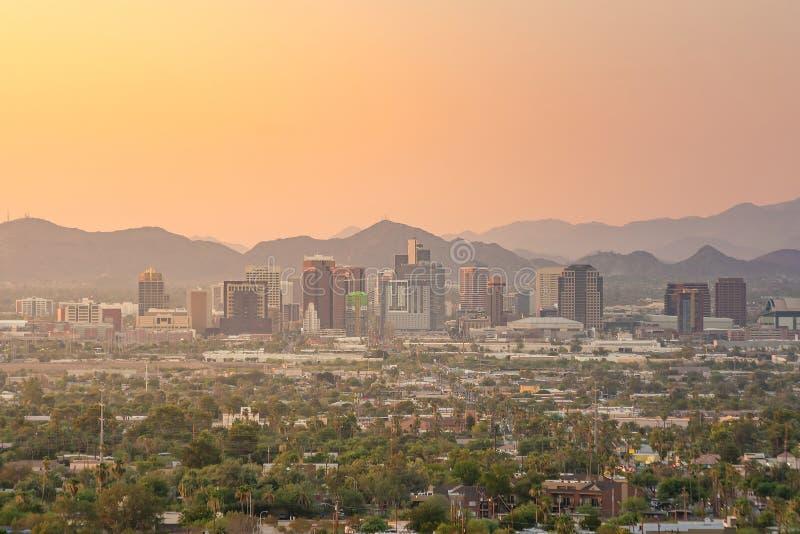 Hoogste mening van Phoenix van de binnenstad Arizona stock afbeeldingen