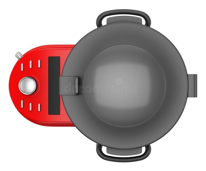 Hoogste mening van rode die keukenmachine op wit wordt geïsoleerd vector illustratie