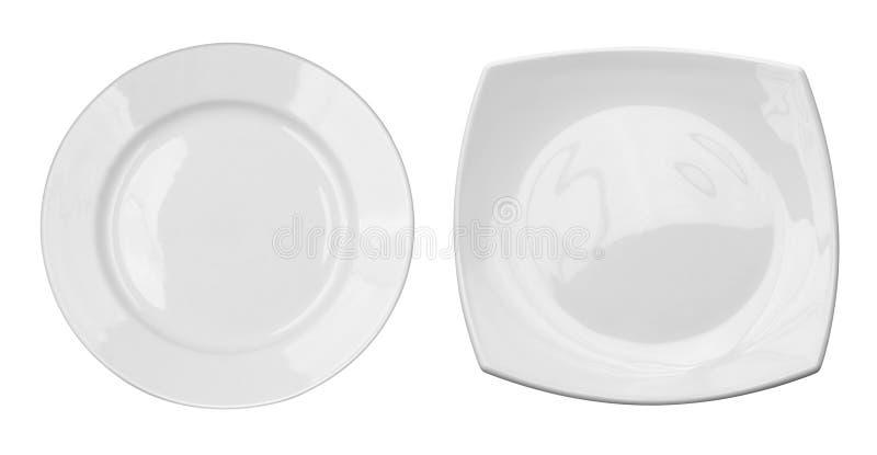 Hoogste mening van ronde en vierkante platen geplaatst geïsoleerd royalty-vrije stock afbeelding