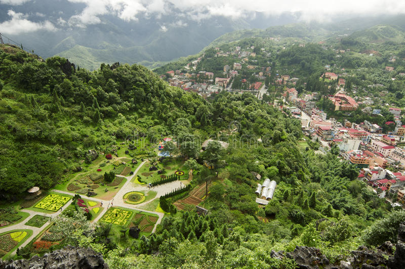 Hoogste mening van Sapa, Vietnam royalty-vrije stock foto