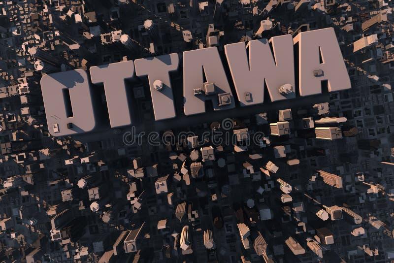 Hoogste mening van stedelijke 3D stad met naam stock illustratie