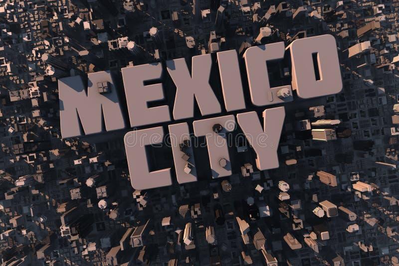 Hoogste mening van stedelijke stad in 3D royalty-vrije illustratie