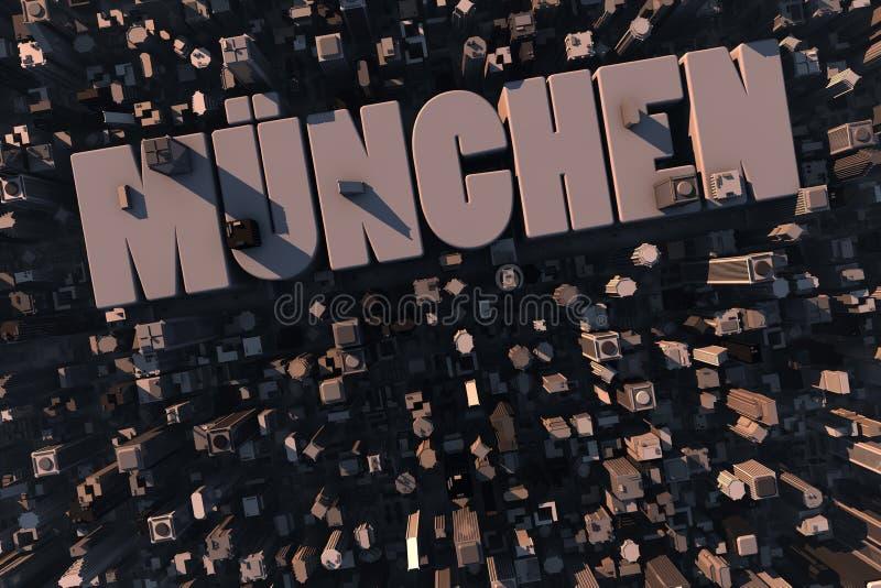 Hoogste mening van stedelijke stad in 3D stock illustratie
