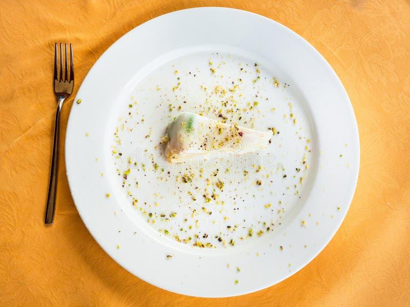 Hoogste mening van traditionele Siciliaanse zoete pasteicassata stock foto