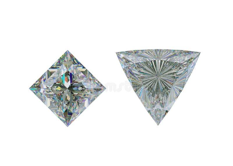 Hoogste mening van triljoen en de diamant van de prinsesbesnoeiing op wit royalty-vrije illustratie