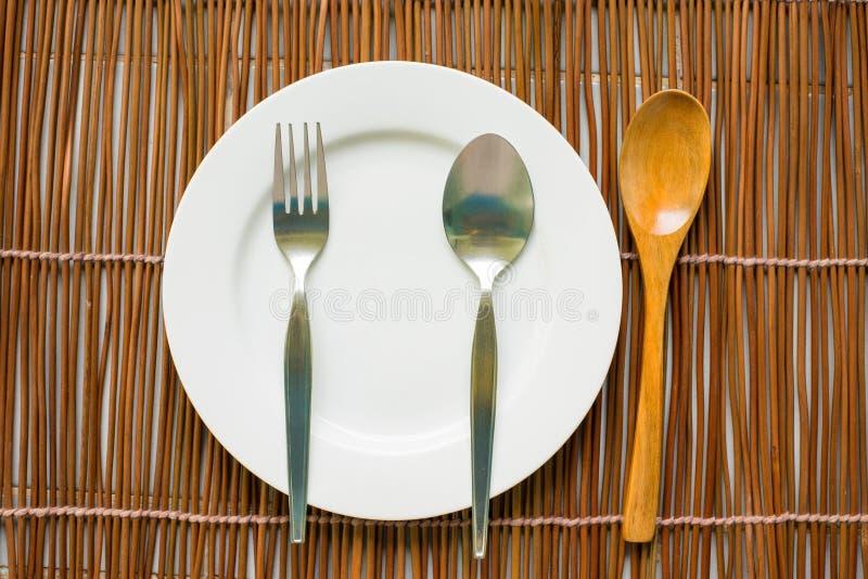 Hoogste mening van vaatwerk voor het eten stock fotografie
