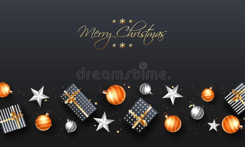 Hoogste mening van Vrolijke van de Kerstmisaffiche of Banner Ontwerp Verfraaide wi stock illustratie