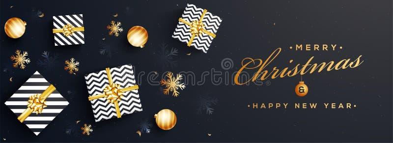 Hoogste mening van Vrolijke Kerstmis en de Gelukkige banner DE van de Nieuwjaarwebsite stock illustratie