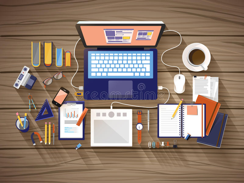 Hoogste mening van werkende plaats in vlak ontwerp vector illustratie