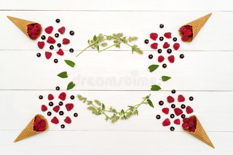 Hoogste mening van zoete verse organische frambozen en braambessen royalty-vrije stock foto's