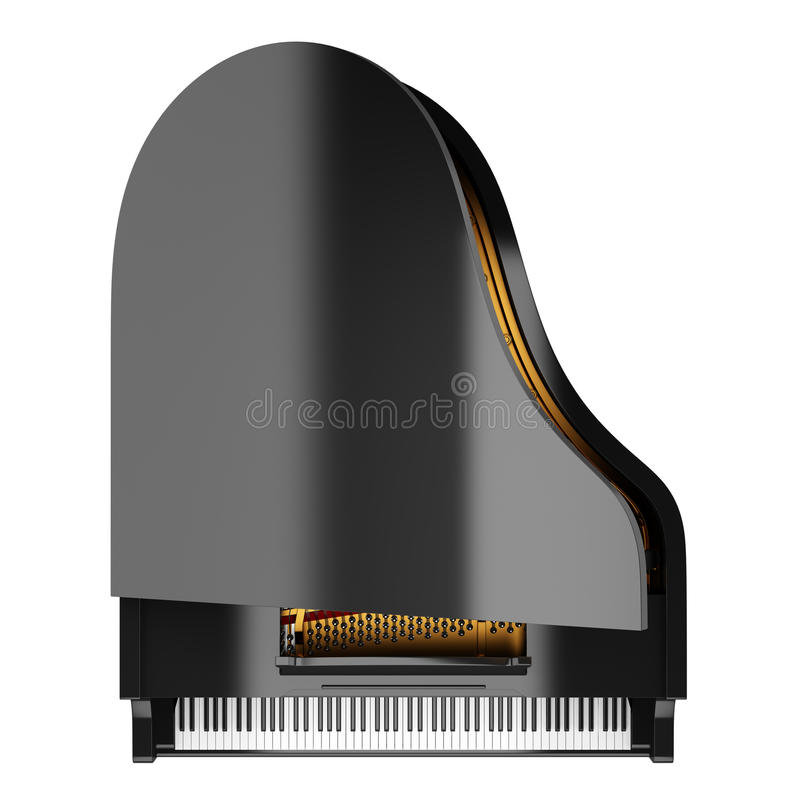 Hoogste mening van zwarte grote die piano op wit wordt geïsoleerd stock illustratie