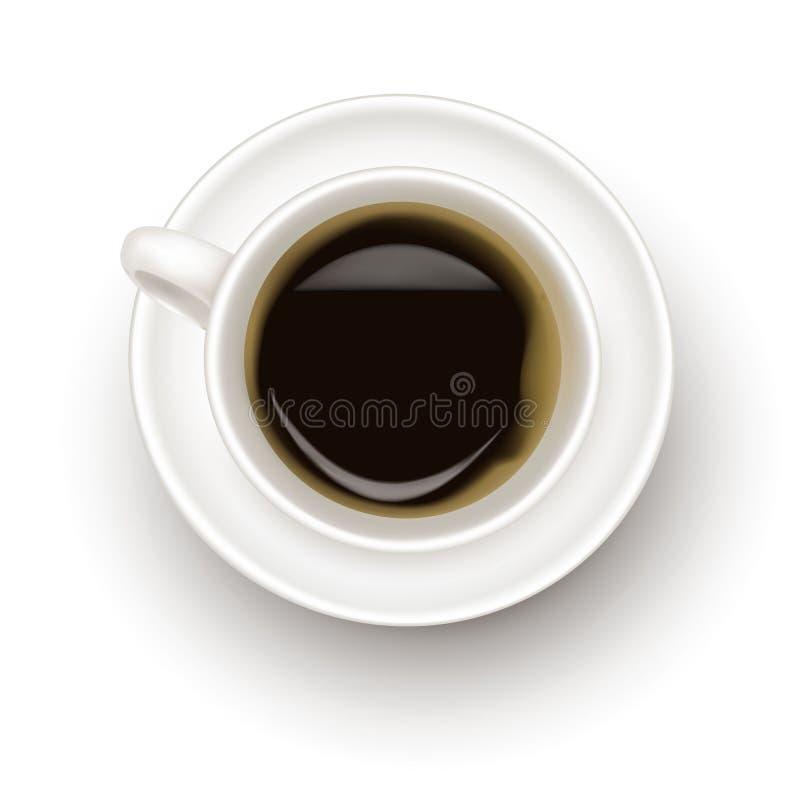 Hoogste mening van zwarte koffiekop. vector illustratie