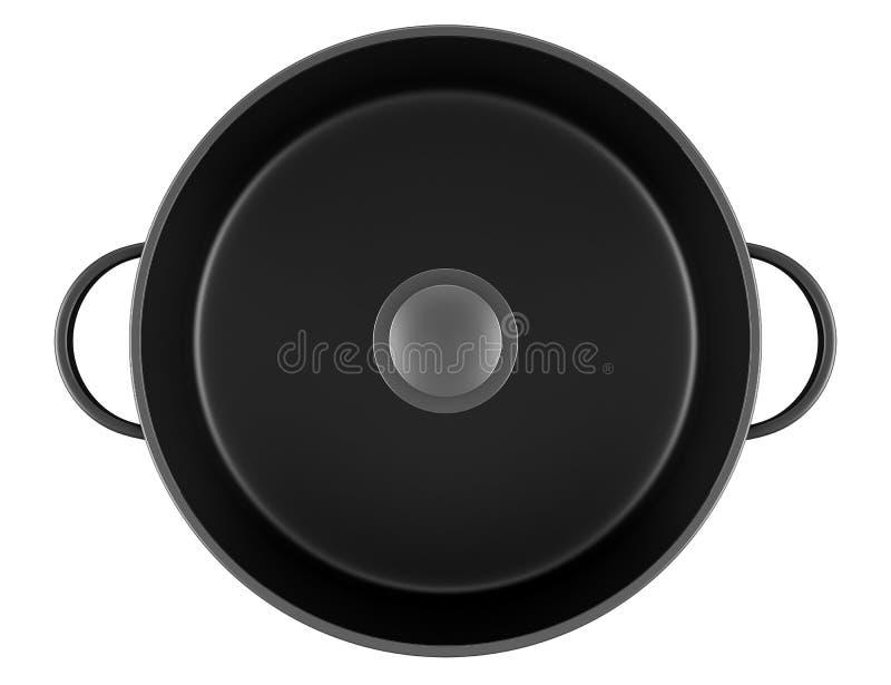 Hoogste mening van zwarte kokende pan die op wit wordt geïsoleerdn royalty-vrije illustratie
