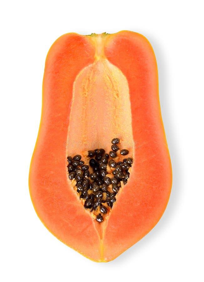 Hoogste menings Halve die papaja op witte het knippen weg wordt geïsoleerd stock foto's