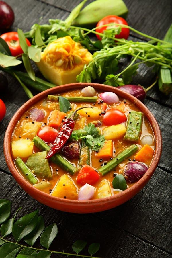 Hoogste menings heerlijke sambar van de keuken van Kerala royalty-vrije stock foto's