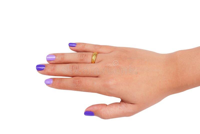 Hoogste menings juiste Aziatische vrouwelijke handen met purpere die manicure op witte achtergrond met het knippen van weg wordt  royalty-vrije stock foto's