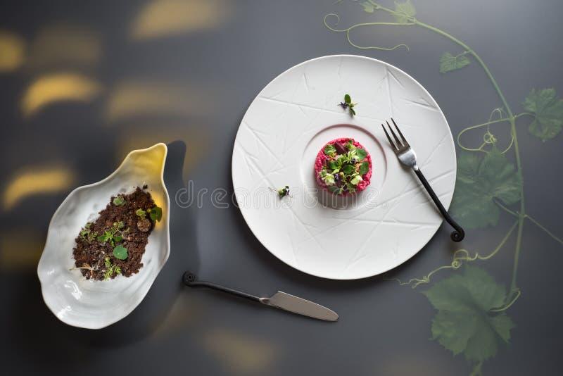 Hoogste menings moderne plaat met roze bietenrisotto en tuinkers, zwart brood met kaassnack op in de schaduw gestelde achtergrond royalty-vrije stock foto