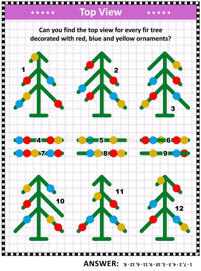 Hoogste menings visueel raadsel met sparren en Kerstmisornamenten stock illustratie