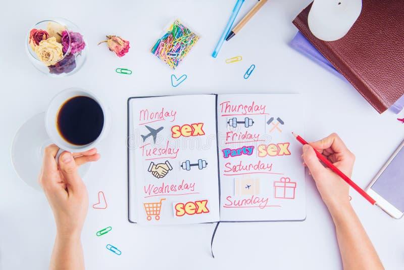 Hoogste menings vrouwelijke handen met potlood en koffie onder persoonlijke panning Organisator met pictogrammen van acties betre stock afbeelding