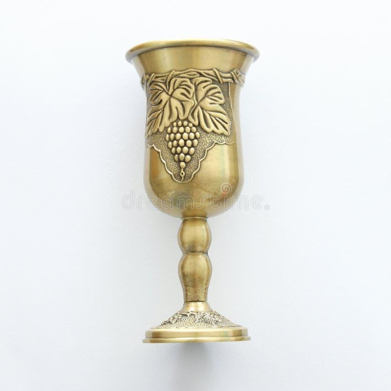 Hoogste meningsbeeld van Joodse wijnkop voor wijn passover vakantie en shabbat concept royalty-vrije stock afbeelding