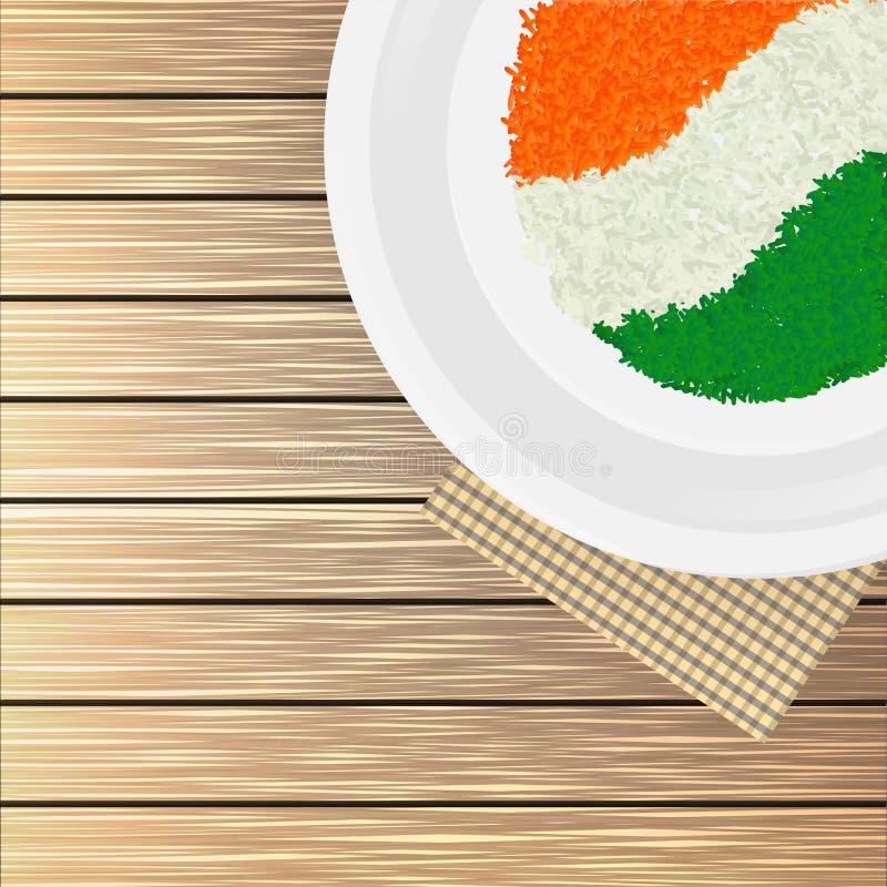 Hoogste meningsillustratie van de Indische rijst van de vlagkleur in een plaat op houten achtergrond stock illustratie