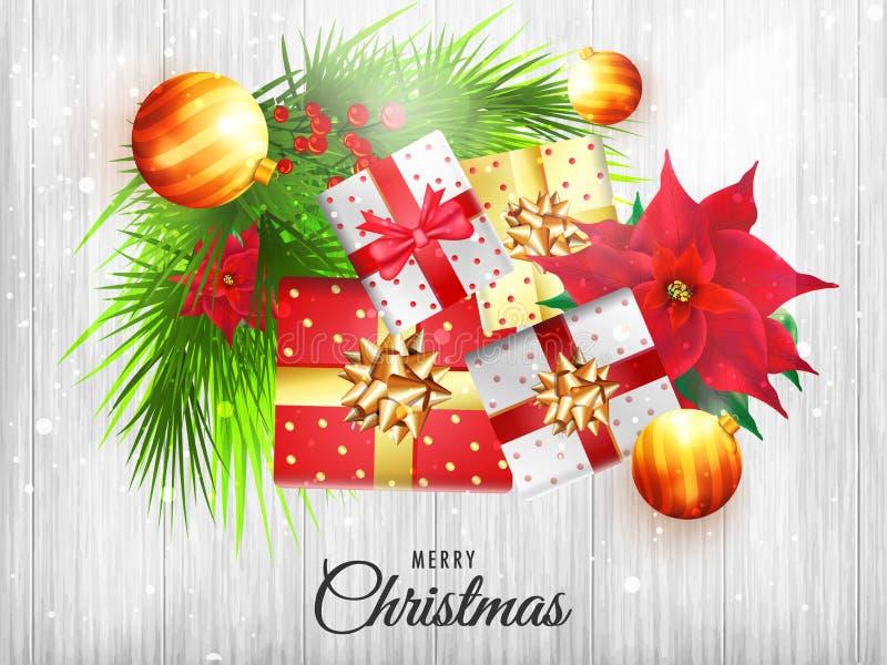 Hoogste meningsillustratie van Kerstmiselementen op witte houten teksten royalty-vrije illustratie