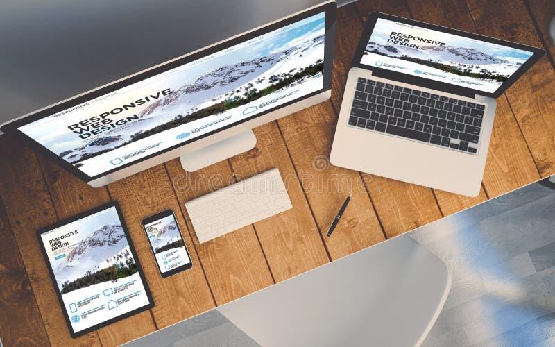 hoogste meningswerkplaats met apparaten die ontvankelijk ontwerp tonen websit vector illustratie
