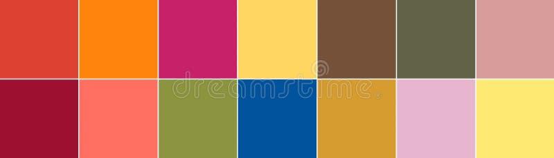Hoogste 14 Pantone-kleuren van het de zomer van 2019 van de seizoenlente palet stock illustratie