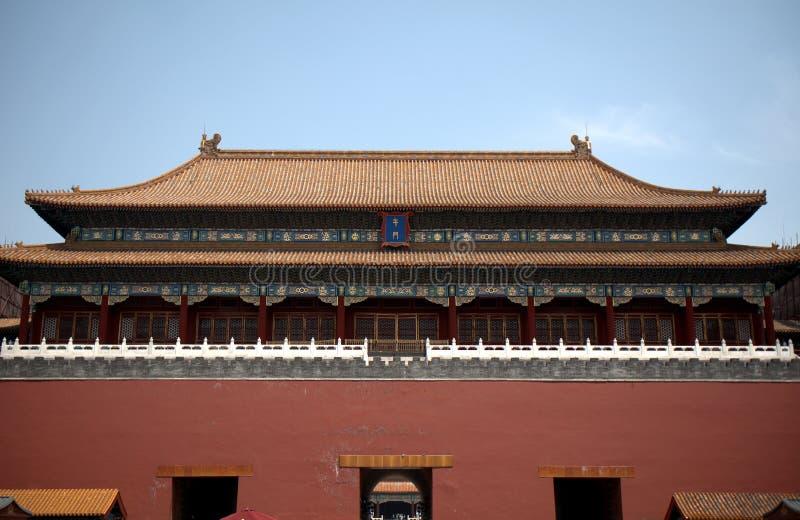 Hoogste Poort van de Verboden Stad, Peking, China stock afbeelding