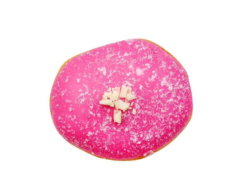 Hoogste suikerachtige menings verse roze doughnut geïsoleerd op witte achtergrond stock afbeelding