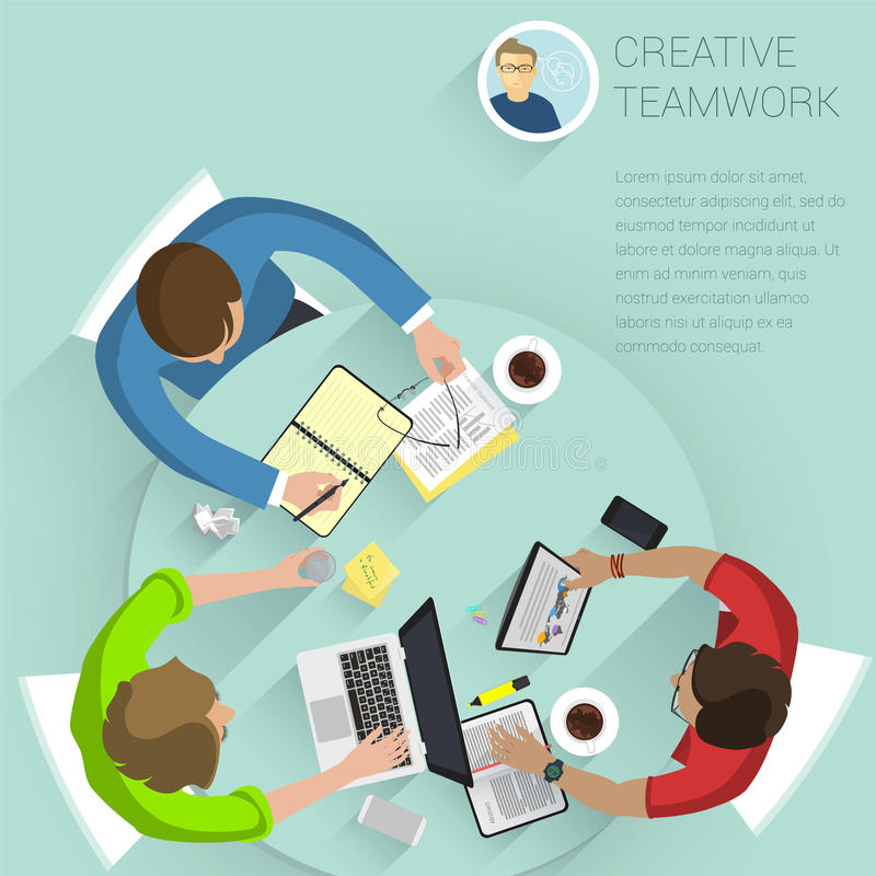 hoogste vector het bureaumensen van het menings vlakke ontwerp vector illustratie