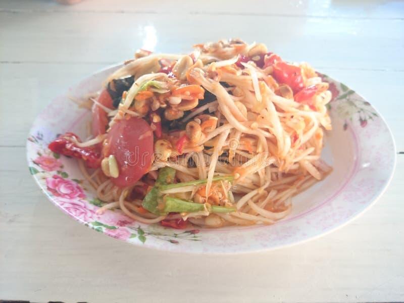 Hoogste Voedsel van de papajasalade van Thailand royalty-vrije stock afbeelding