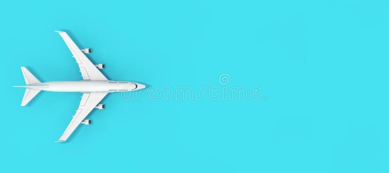 Hoogste Weergeven van Witte het Vliegtuig van Jet Passenger \ 's met Lege Ruimte voor Uw Ontwerp het 3d teruggeven vector illustratie