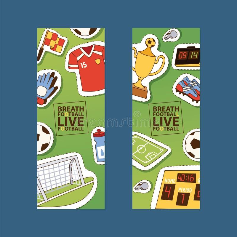 Hoogte van de de stickervoetbal van voetbal de vectorsoccerball en sportkleding van voetballer of soccerplayer de reeks van de il vector illustratie